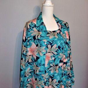 2 PC 1X Aqua floral Top
